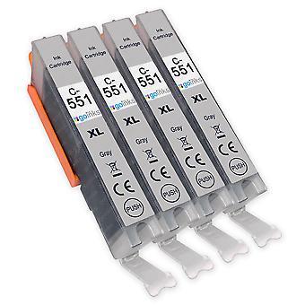 4 cartouches d'encre grise pour remplacer Canon CLI-551GY Compatible/non-OEM de Go Inks