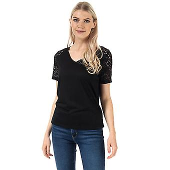 Women's Jacqueline de Yong Stinne Lace V-Neck Top in Black