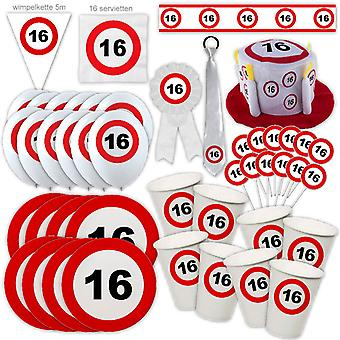 16e verjaardag partij pakket Traffic Sign Design Decoratie Nummer 16 Party Party Box Party Pakket