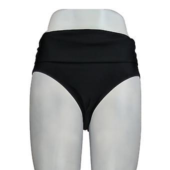 K Jordan Swimsuit Ruched Mid-Rise Bottom Black Swim Brief