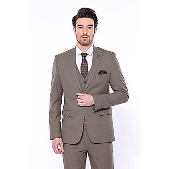 Patterned light brown blazer