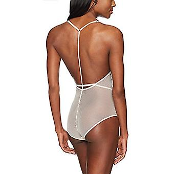 Marque - Mae Women's T-Back Lace And Mesh Body, Crème De Peche, Me...