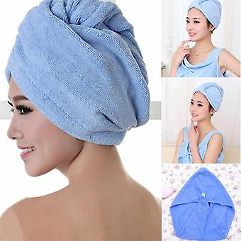 Microfiber Hair Drying Towel Wrap - Turban Head Hat Bun Cap Shower Dry