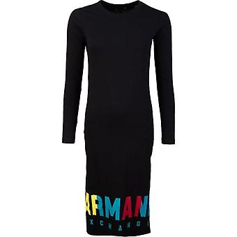 Armani Exchange Long Sleeved Colour Logo T-Shirt Dress