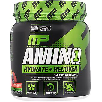 MusclePharm, Amino1, Hydrate + Recover, Fruit Punch, 15 oz (426 g)