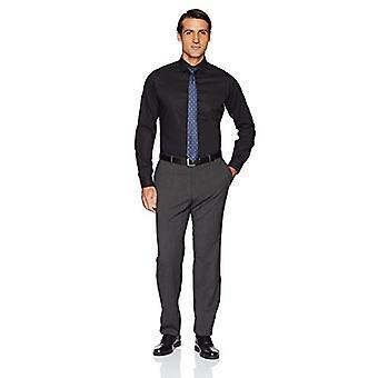 BUTTONED DOWN Men's Tailored Fit Stretch Poplin Non-Iron Dress Shirt, Black, ...