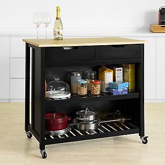 SoBuy FKW74-SCH, Cocina Bar de desayuno de la cocina del carro de la cocina, Negro y Natural