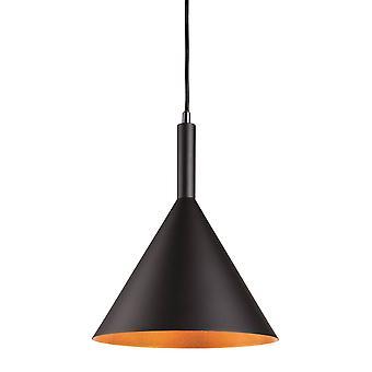 1 Lichte Dome plafondhanger Zwart met goud binnen, E27