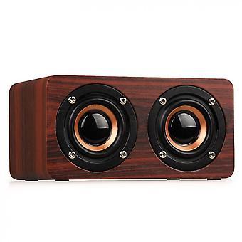 W5 10-w 52mm Dobbelt-horn Træ 4.2-bluetooth Højttaler med Aux Audio-afspilning