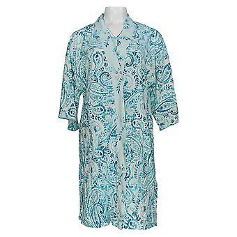 Carole Hochman Women's Robe & Gown Set Kimono w / Chemise Green A373461