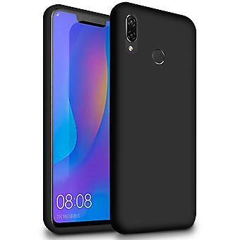 Soft Thin Mobile Case for Huawei Y7 (2019) Solid Color Shockproof Phone TPU Black
