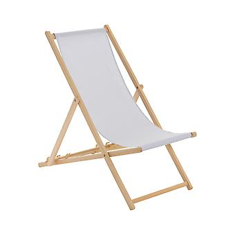 Wooden Deck Chair - Traditional Beach Style Adjustable Folding Chair - Light Grey