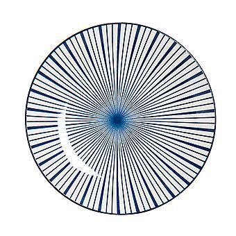 Nicola Spring Stripe Patterned Dinner Plate - Large Porcelain Dining Dish - Navy Blue - 26.5cm