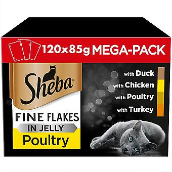 120 x 85g Sheba Fine Flakes Adult Wet Cat Food Pouches Mixed Poultry in Jelly