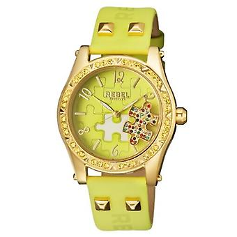 Rebel Women-apos;s RB111-9171 Gravesend Gold IP Steel Lime-Green Leather Montre-bracelet