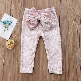 Baby Girls Bowknot Bottoms Pleuche Lindo Long Pants Leggings