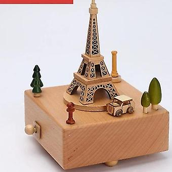 Stylish Engraved Musical Wooden Boxes Clockwork Craft For Birthday, Home