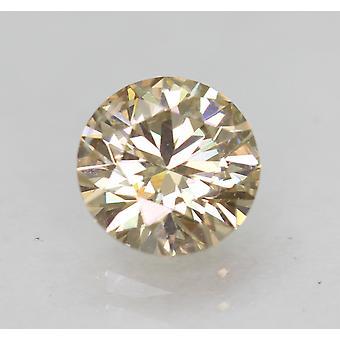 Cert 0.66 Carat TL Yel Brown VS1 Round Brilliant Natural Diamond 5.6mm 3EX