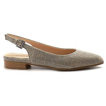 Sapatos femininos sangiorgio flat em tecido lurex platina