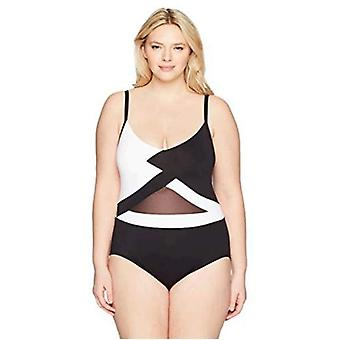 Anne Cole Women's Plus-Size Over The Shoulder Mesh Sexy One Piece Swimsuit, B...