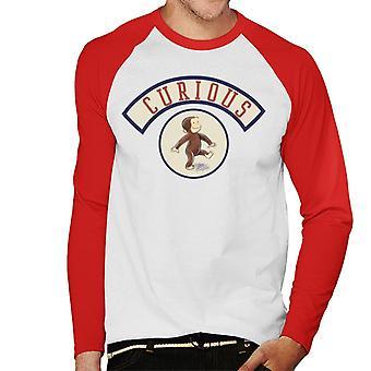 Curious George Cute Walking Men's Baseball Long Sleeved T-Shirt