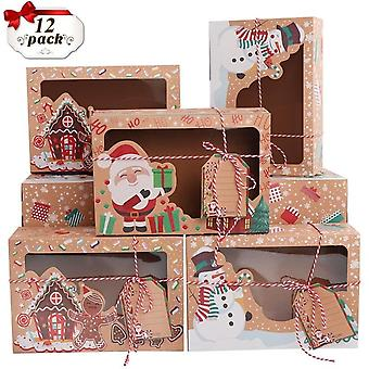 12ks Kraft papier vianočné cookie darčekové krabice s Clear Window 22 * 15 * 7cm Nový rok uprednostňuje krabice pre cookies zaobchádza