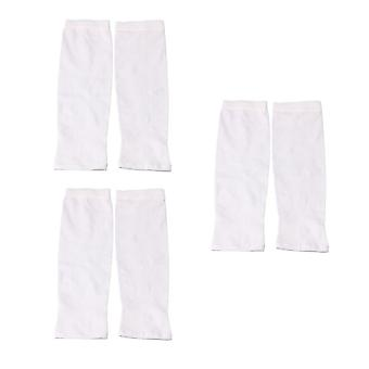 3 Pieces Ultraviolet-Proof Ice Silk Arm Fingerless Sleeves Cuffs White