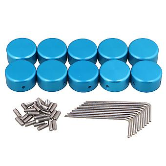 10x Blue Guitar Effects Accessoires Stomp Switch Pedal Box Foot Metal