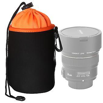 SLR Camera Lens Bag Micro Single Lens Bag Lens Binnenste bile bag waterdichte beschermhoes plus fluwelen verdikking, diameter: 10cm, hoogte: 14cm (Oranje)