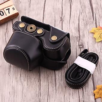 Full Body Camera PU Leather Case Bag with Strap for Sony A6000 / A6300 / Nex 6(Black)