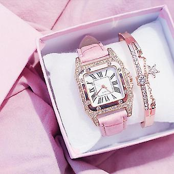Femei Diamond Watch Starry Square Dial brățară