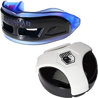Cerveau Pad 3XS protège-dents professionnel avec cas-bleu/noir