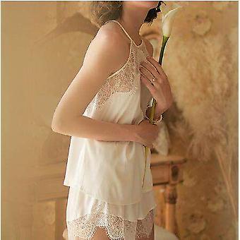 New Women's Pajamas Ladies Sexy Silk Sleepwear Lace Nightdress Trim Satin Set