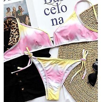 Sexy Tie Dye Bikini String High Cut Badeanzug