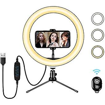 """Led ring light 10"""" with tripod stand & flexible phone holder, desk makeup selfie ring light with dim"""