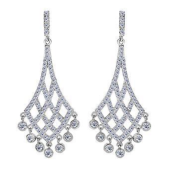 Sterling Silver And Cubic Zirconia Shaped Chandelier Drop Earrings