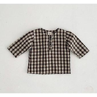 Newborn Baby Cotton Long Sleeve Tops, Plaid Shirts Clothing