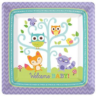 Party signs Babyshower Woodland Square 8 Pieces 323230 Bt323230