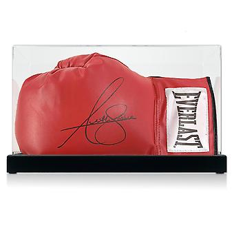 Anthony Joshua Signed Red Everlast Boxing Glove. In Display Case