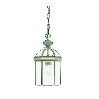 Lámpara Colgante De 18 Cm. Linternas, En Latón Antiguo Y Vidrio.