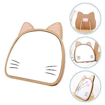 1 Pc adjustable makeup mirror wooden cartoon cat table cosmetic mirror (khaki)