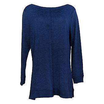 Denim & Co. Damski&s Sweter Active Jersey Boatneck Tunika Niebieski A384020