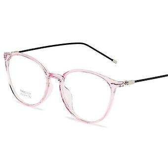 Transparent Pink Nearsighted Spectacle Steel Oval Eyeglasses