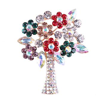 Ladies Brooch Small Flowers Corsage Rhinestone Inlaid Scarf Clip Christmas Tree Brooch Pin