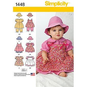 תבנית תפירה פשטות 1448 תינוקות שמלת תחתונים כובע מידות XS - L