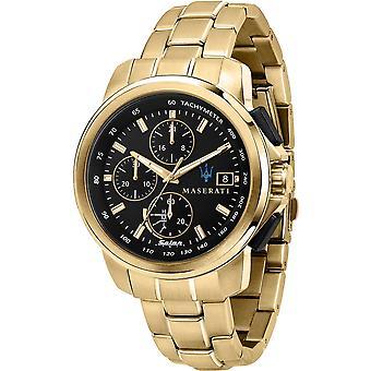 Maserati R8873645002 Men's Successo Solar Gold Tone Bracelet Wristwatch