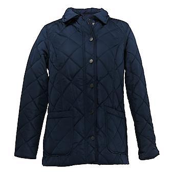 Isaac Mizrahi En direct! Women's Quilted Barn Jacket Print Lining Blue A384602