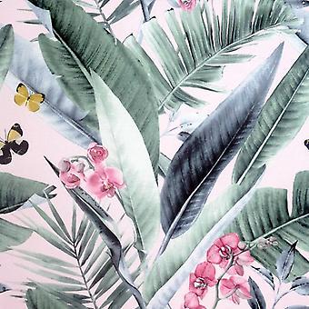 Lush Tropical Blush Wallpaper