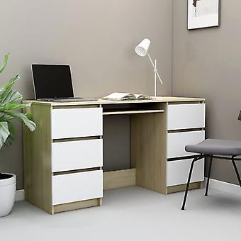 vidaXL bureau blanc et sonoma-chêne 140×50×77 cm panneau de particules