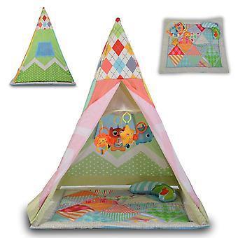 Moni Barnas Telt Tipi, 2 i 1 Crawl teppe Mobile Pillow Net Window fra 6 måneder